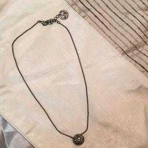Gunmetal necklace with crystal ball Trifari
